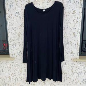 Long sleeve black swing dress